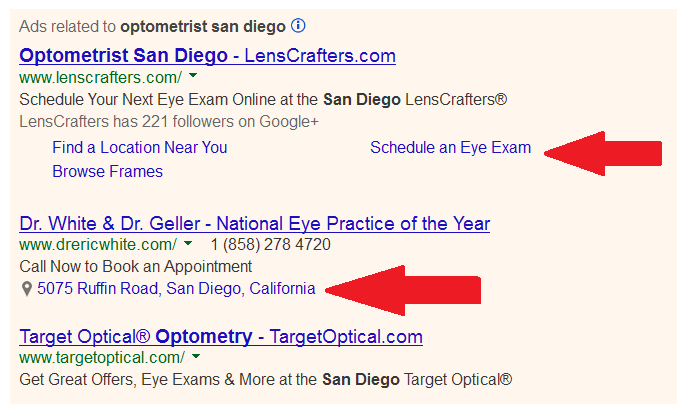 Google AdWords Search Ads for Optometrists