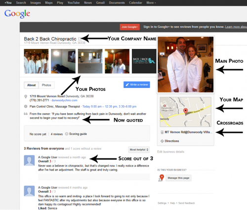 Example of Google+ Local Page