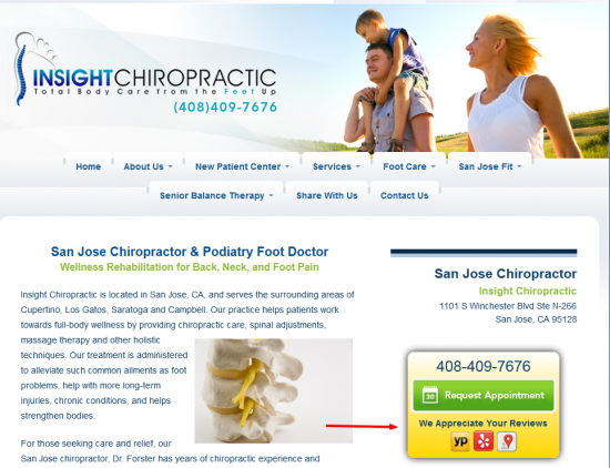 Online review links on a chiropractic website