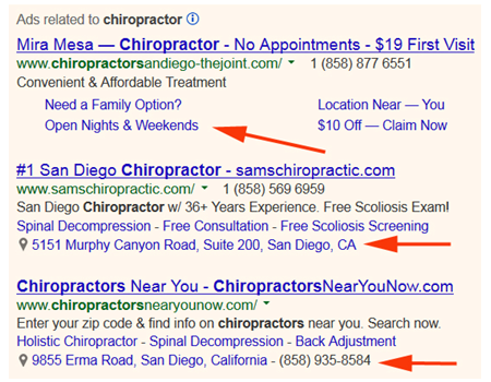 Google AdWords Ad Extensions for Chiropractors