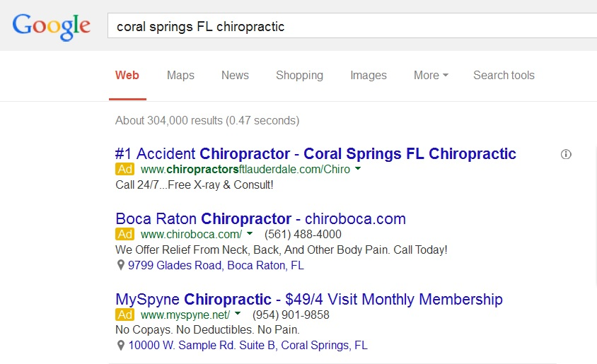 Chiropractic Ad with Location Extension in Google Search